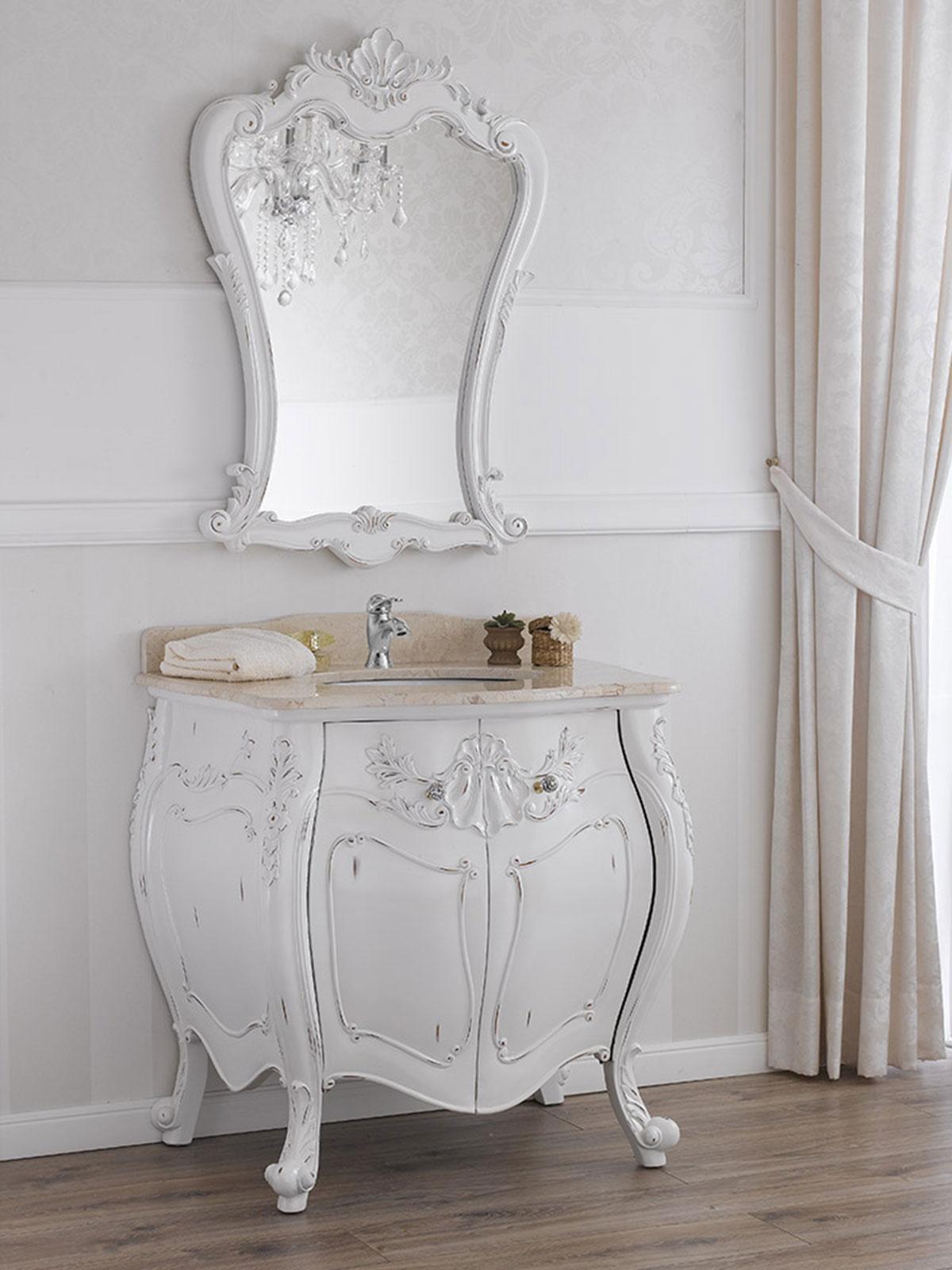 Bathroom Vanity Unit Anderson Shabby Chic Style Antique White Marble Cream Knobs Ebay
